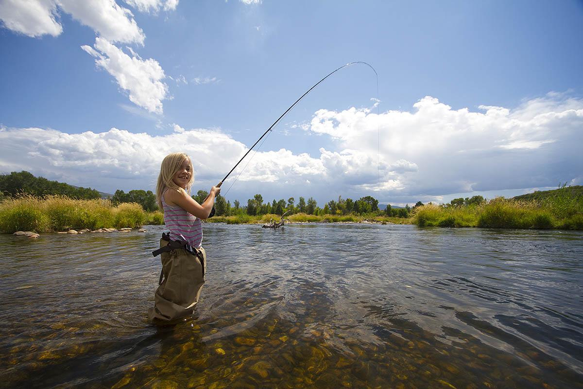 Girl Fly Fishing The Provo River Utah